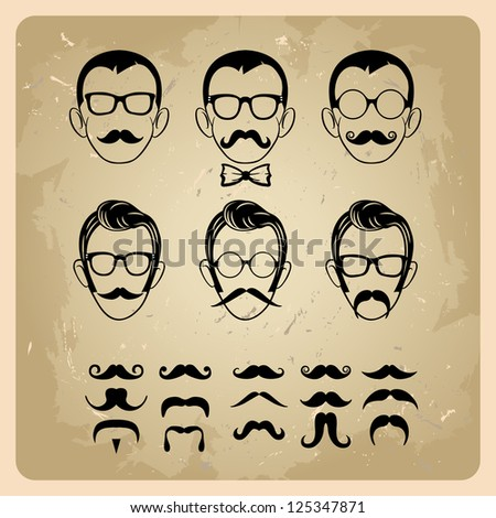 Faces with Mustaches, sunglasses,eyeglass es and a bow tie. bitmap version