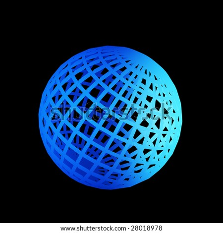 faceted blue 3d sphere
