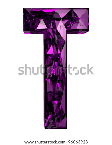 Faceted 3d diamond font t - stock photo