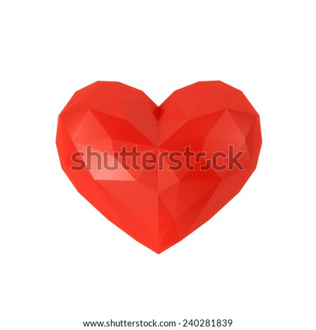 Faceted heart on a white background - stock photo