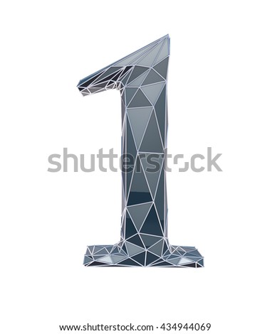 faceted number 1, one, 3d illustration