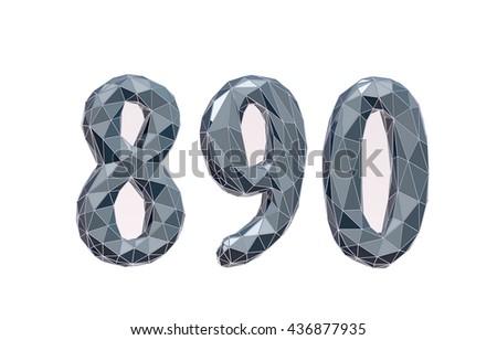 faceted number set 8, 9, 0, 3d illustration - stock photo