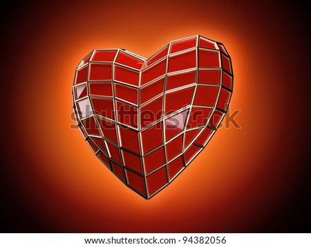 Faceted Spider-man's heart - stock photo