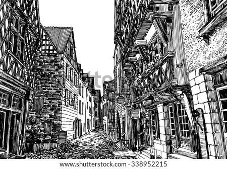 Fachwerk houses street in Nurmberg. Black and white dashed style sketch, line art, drawing with pen and ink. Retro vintage picture.