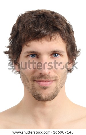 Facial close up of an attractive man face isolated on a white background               - stock photo