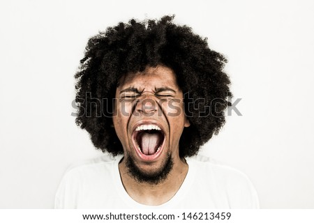 Facial expression of man - scream  - stock photo