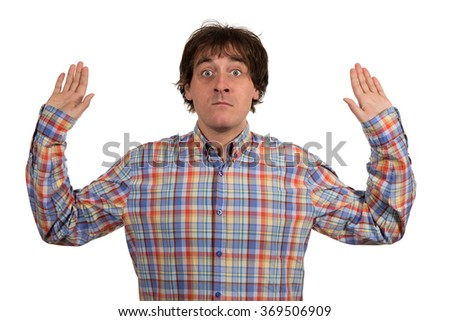 Facial expression of young man without ideas isolated on white background. - stock photo
