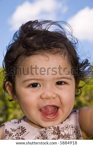 Facial expression shown on young toddler girl - stock photo