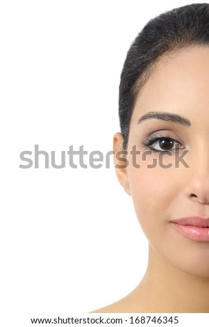 Facial half front portrait of a woman smooth face isolated on a white background - stock photo