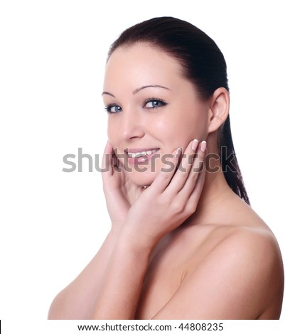 facial massage isolated on white - stock photo