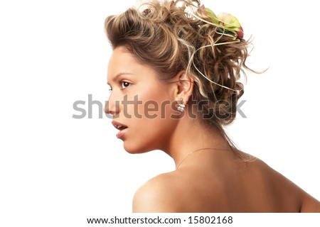 facial  portrait of  emotional girl isolated on white