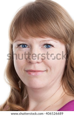 Facial portrait of smiling Caucasian woman with curly hair and blue eyes, isolated on white background - stock photo
