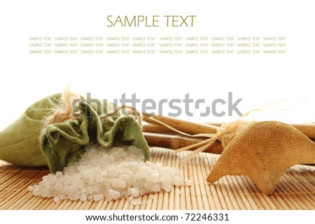 Facilities for body care in a fabric bag of bath salts, related to bamboo sticks, starfish. Isolated on white background - stock photo