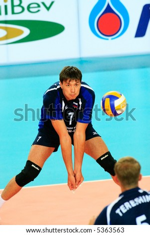 Facing the ball. Universiade Volleyball game between Russia&Mexico - stock photo