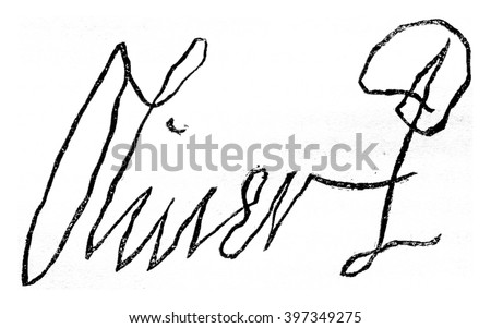 Facsimile of the signature of Oliver Cromwell, only in 1599, died in 1658, vintage engraved illustration. Magasin Pittoresque 1870.