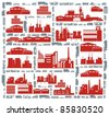 Factories, streets and various vehicles - an industrial city color raster cartoon illustration set - stock photo