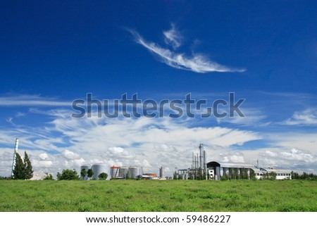 Factory and blue sky - stock photo