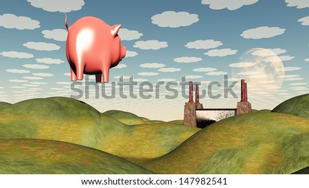 Factory and floating pig - stock photo
