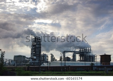 factory and smoke from chimneys