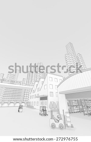 Factory and train and high-rise buildings - stock photo