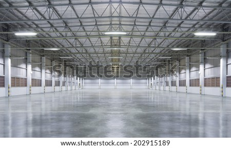 Factory background with concrete floor, night scene. - stock photo