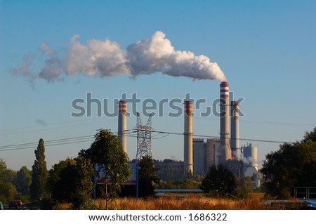 Factory chimney - stock photo