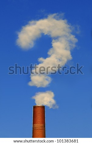 Factory chimney Part of a factory chimney with rising smoke in form of a question mark under a blue sky - stock photo