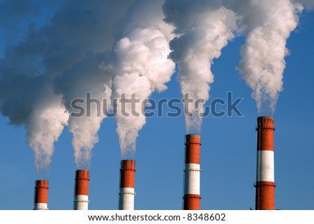 factory fumes - stock photo