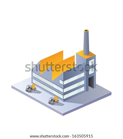 factory in isometric projection on a white background - stock photo