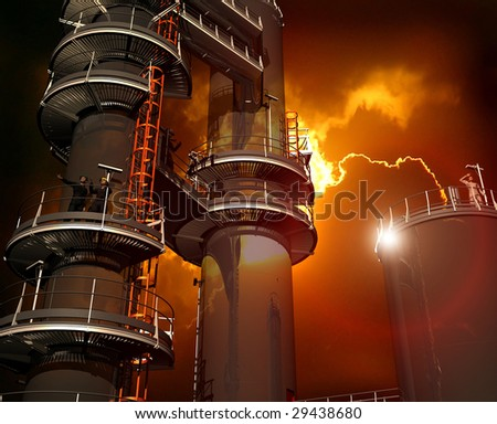 Factory on a background of the sky - stock photo