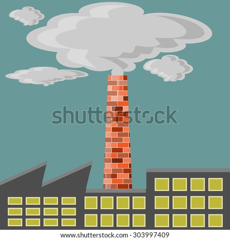Factory polluter - stock photo