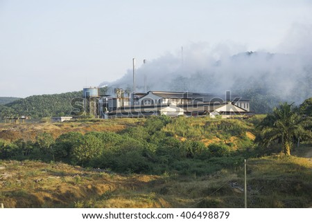 factory pollution in malaysia - stock photo
