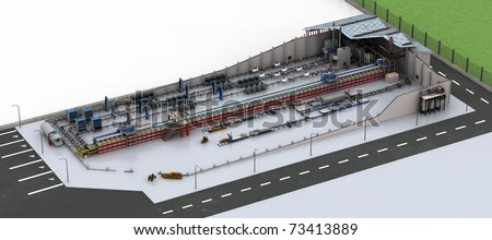 Factory Production Line. Isometric high resolution 3D rendered image. - stock photo