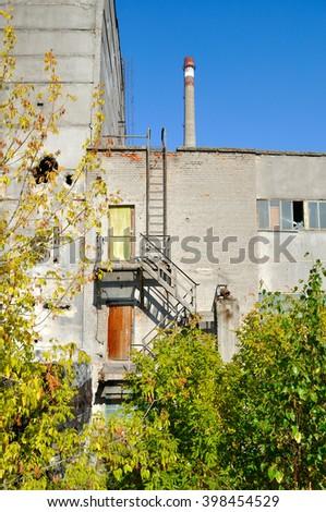 factory ruins - stock photo