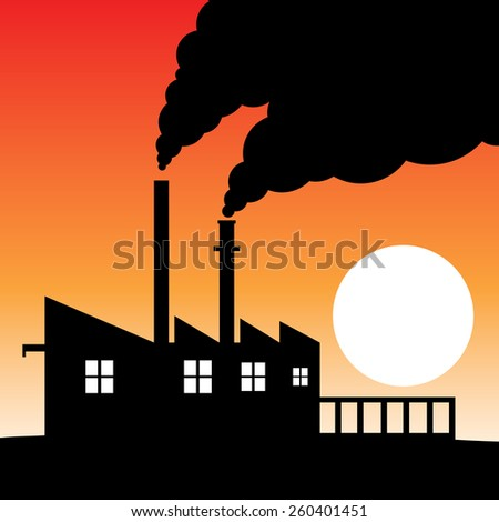 Factory silhouette air pollution - stock photo