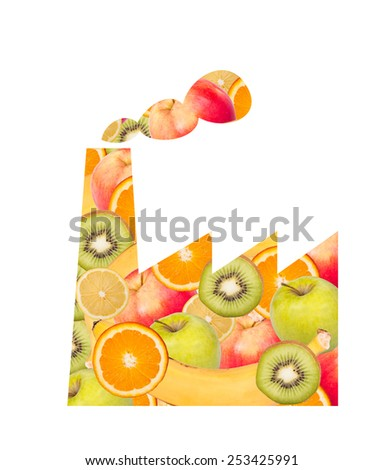 Factory silhouette and fruits as food processing concept - stock photo