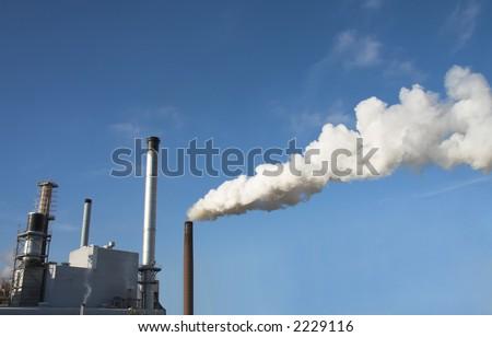 factory smoke - stock photo