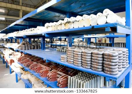 Factory warehouse shelves - stock photo