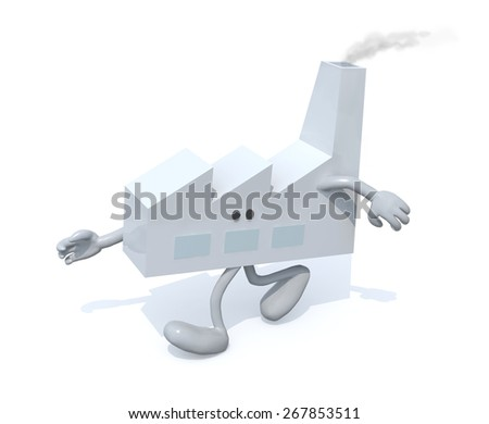 factory with arms and legs walking, isolated 3d illustration