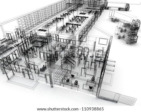 Architectural design sketch stock photos images for Draw layout warehouse