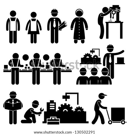 Factory Worker Engineer Manager Supervisor Working Stick Figure Pictogram Icon - stock photo