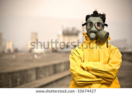 Factory worker says:I don`t care - stock photo
