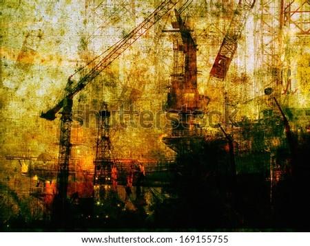 factory yard dark industrial machines background - stock photo