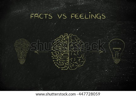 facts vs feelings: human and artificial brain producing different types of ideas (lightbulb symbol and circuit version)