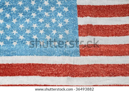 Wide Angle Photo Tattered American Flag Stock Photo