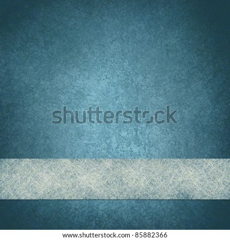 faded blue background or blue paper with frosty white parchment ribbon for website design on bottom border, with old vintage grunge texture and copy space - stock photo