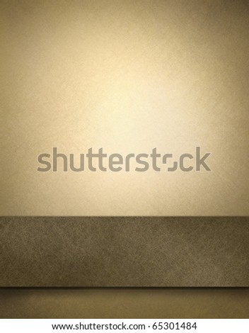 faded parchment background with faint scratch texture and spotlight and dark brown graphic layout strip for copy space to add your own text or title - stock photo