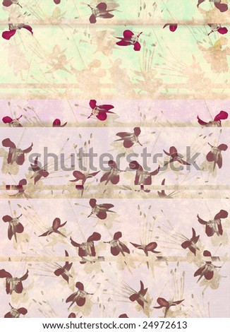 Faded pastel butterfly flower print with text or banner space portrait - stock photo