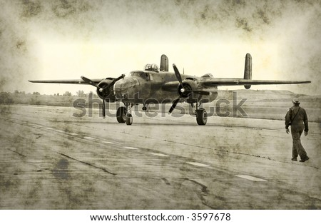 Faded photo of bomber and pilot (rendering) - stock photo