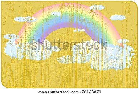 Faded rainbow with clouds located on a wooden label - stock photo
